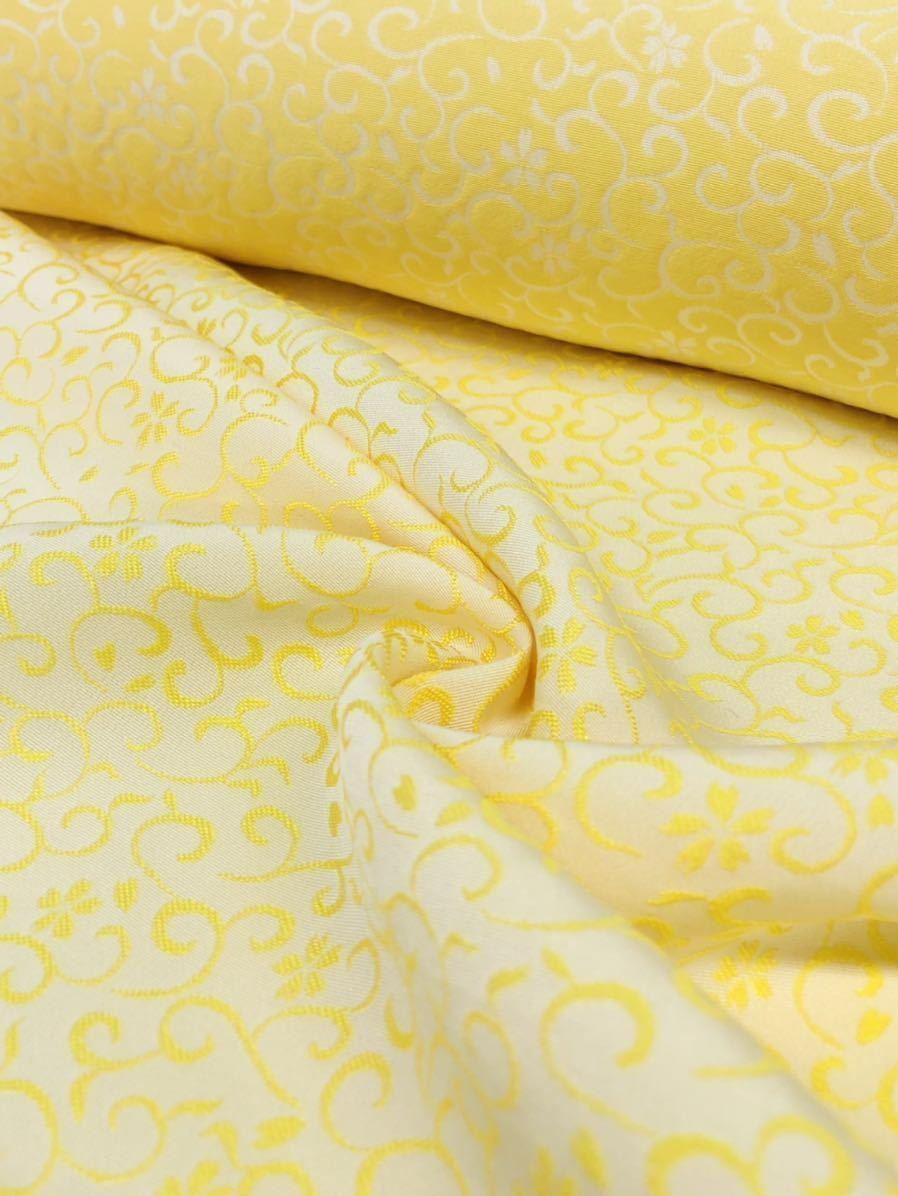 山口美術織物 黄金糸 純国産糸ぐんま黄金使用着尺 色無地 唐織文様 御衣 未仕立て品 正絹 _画像2