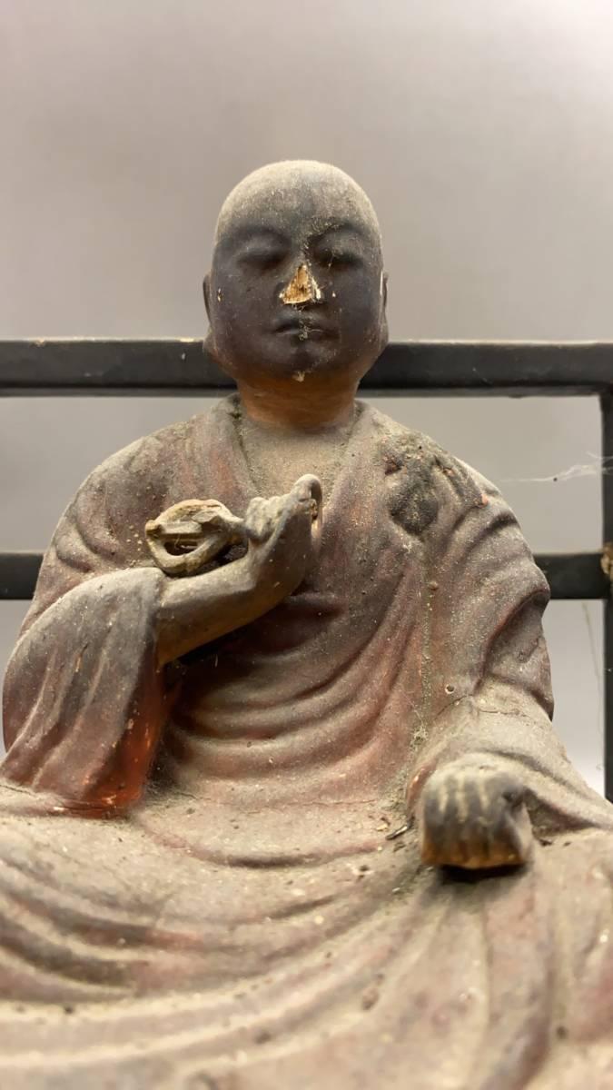 江戸期 骨董 古美術 仏教美術 空海 弘法大師座像 _画像2