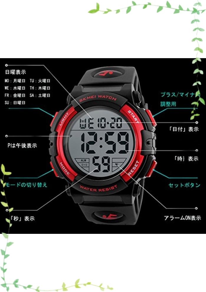 【新品】Timever(タイムエバー)デジタル腕時計 メンズ 防水腕時計 led watch スポーツウォッチ アラーム ストップ_画像5