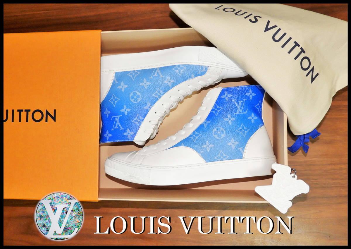 新作 LOUIS VUITTON クラウズスニーカー ルイヴィトン ハイカット 白 青 7 1/2 靴 完売品 モノグラム キャップ ベルト レザー タトゥー LV_画像2