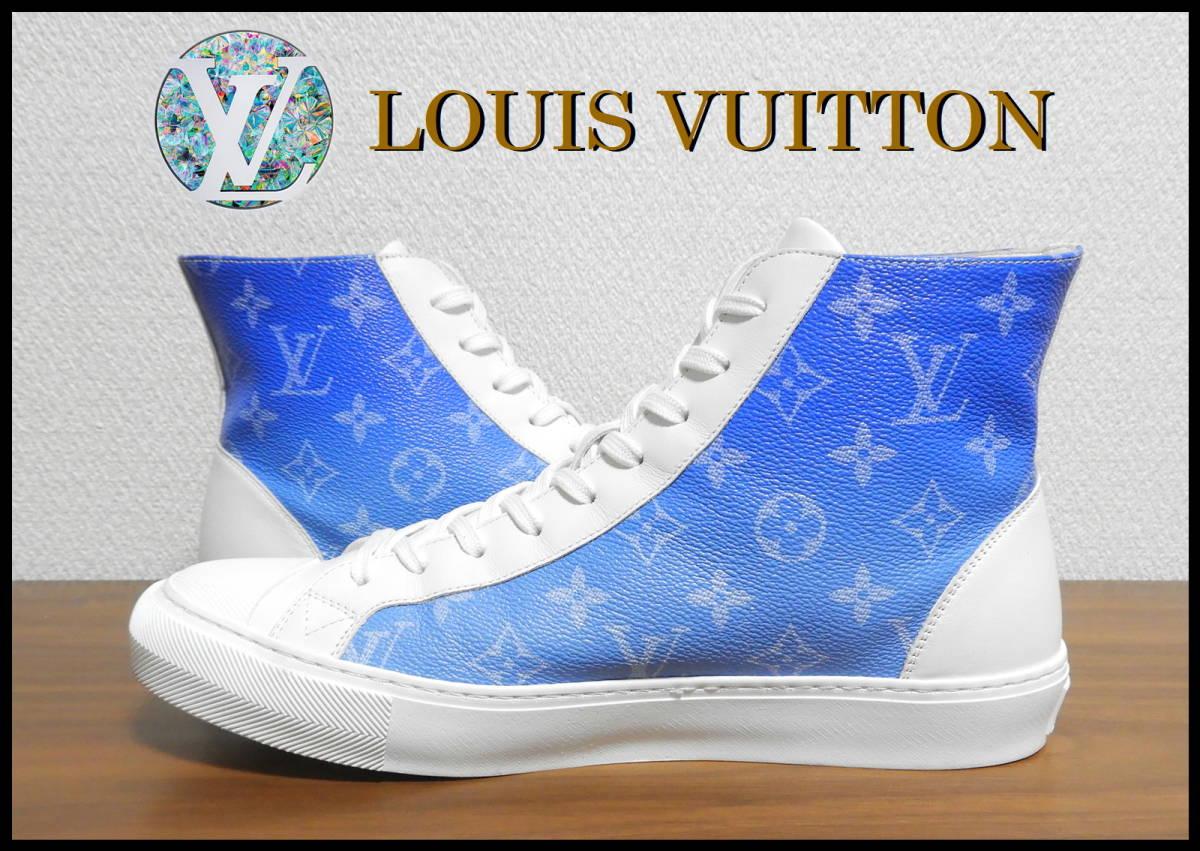 新作 LOUIS VUITTON クラウズスニーカー ルイヴィトン ハイカット 白 青 7 1/2 靴 完売品 モノグラム キャップ ベルト レザー タトゥー LV_画像3
