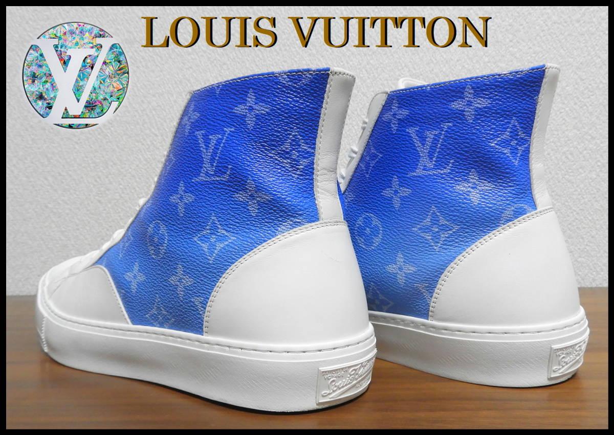 新作 LOUIS VUITTON クラウズスニーカー ルイヴィトン ハイカット 白 青 7 1/2 靴 完売品 モノグラム キャップ ベルト レザー タトゥー LV_画像4