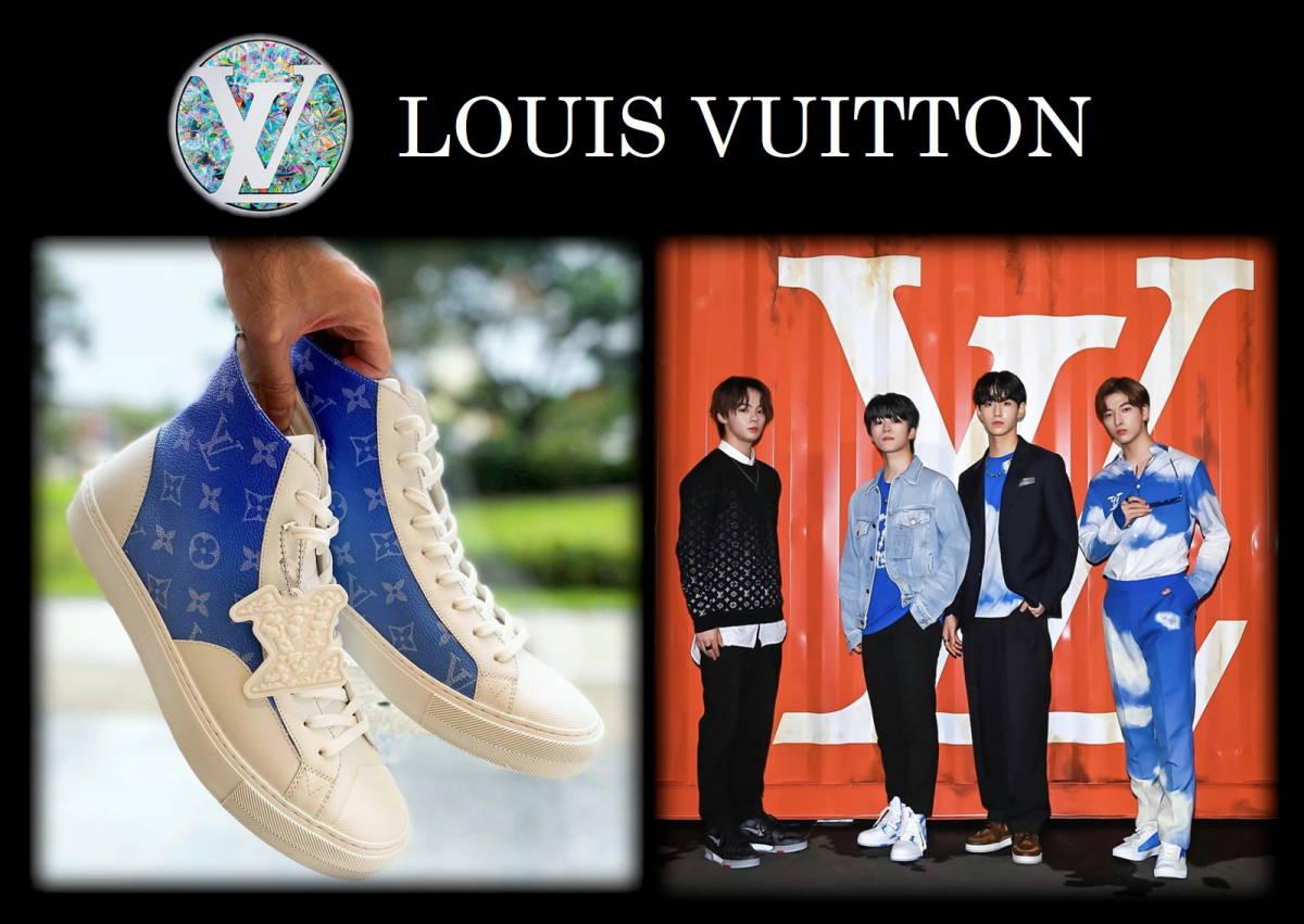 新作 LOUIS VUITTON クラウズスニーカー ルイヴィトン ハイカット 白 青 7 1/2 靴 完売品 モノグラム キャップ ベルト レザー タトゥー LV_画像9