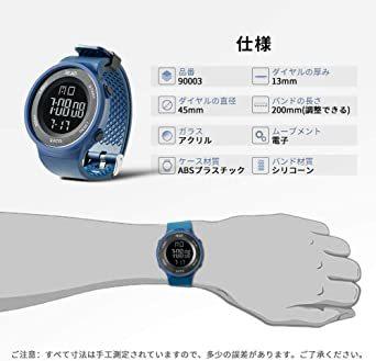 ブルー デジタル腕時計 メンズ スポーツウォッチ 日付表示 アラーム 大文字盤 LED バックライト ストップウオッ_画像3