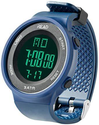 ブルー デジタル腕時計 メンズ スポーツウォッチ 日付表示 アラーム 大文字盤 LED バックライト ストップウオッ_画像1