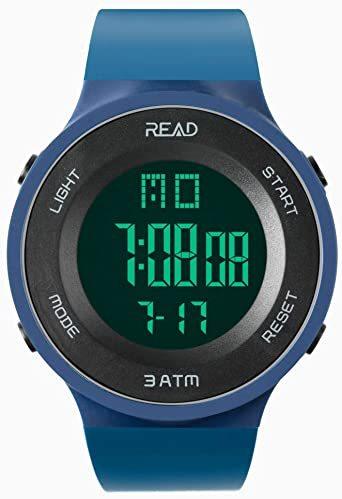 ブルー デジタル腕時計 メンズ スポーツウォッチ 日付表示 アラーム 大文字盤 LED バックライト ストップウオッ_画像2