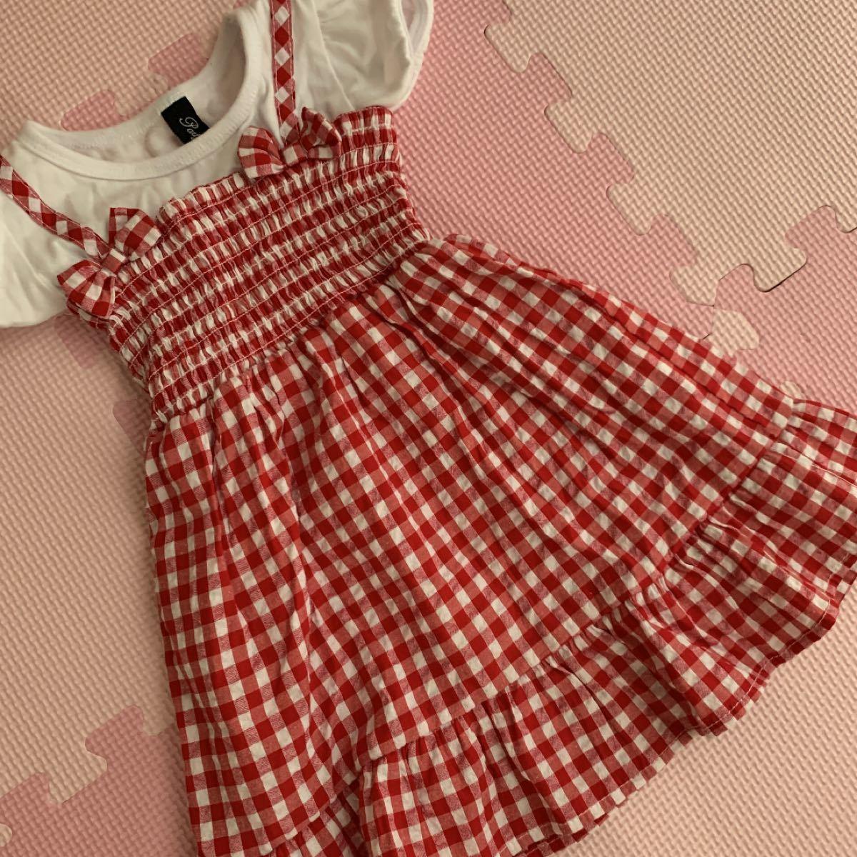 半袖ワンピース 90サイズ  赤チェック