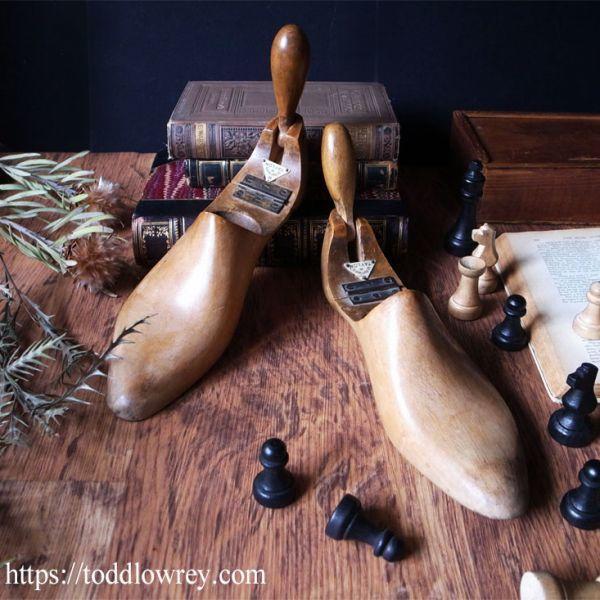 【ロンドンのビスポークシューメーカーから】イギリス アンティーク シューツリー シューキーパー 木製◆Antique Pair of Shoe Trees◆_画像1