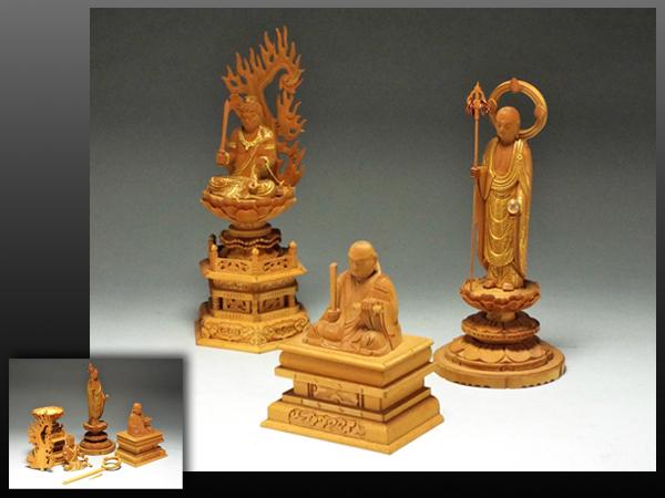 【静岡】126V 木彫 仏像 3体 まとめて ya