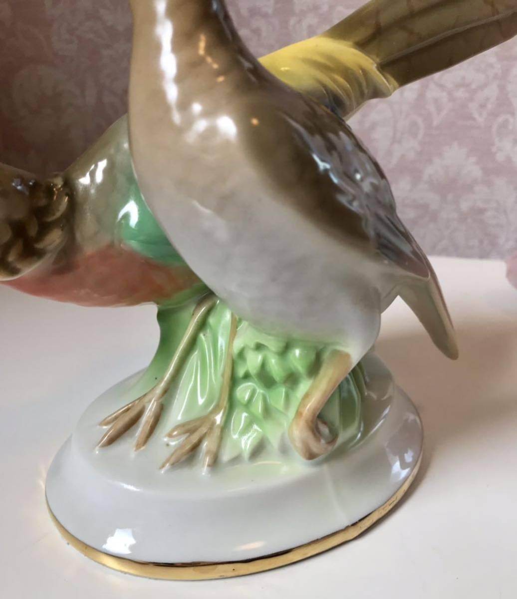 〈送料込〉〈ヴィンテージ〉1937~60年 24cm ゲロルドポーセリン バード フィギュリン Gerold ババリア フィギュア Bavaria 鳥 つがい 置物_画像4