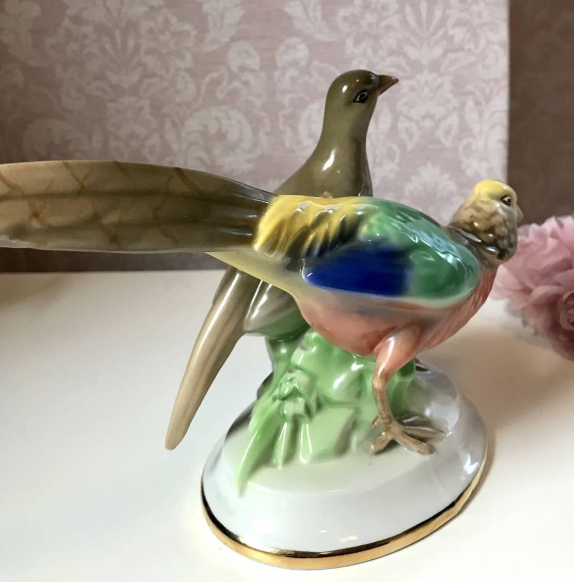 〈送料込〉〈ヴィンテージ〉1937~60年 24cm ゲロルドポーセリン バード フィギュリン Gerold ババリア フィギュア Bavaria 鳥 つがい 置物_画像6