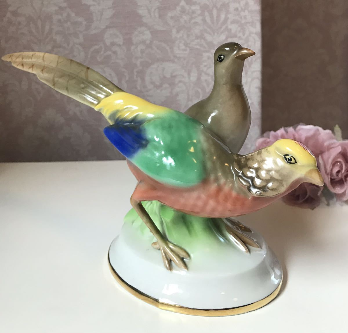 〈送料込〉〈ヴィンテージ〉1937~60年 24cm ゲロルドポーセリン バード フィギュリン Gerold ババリア フィギュア Bavaria 鳥 つがい 置物_画像1