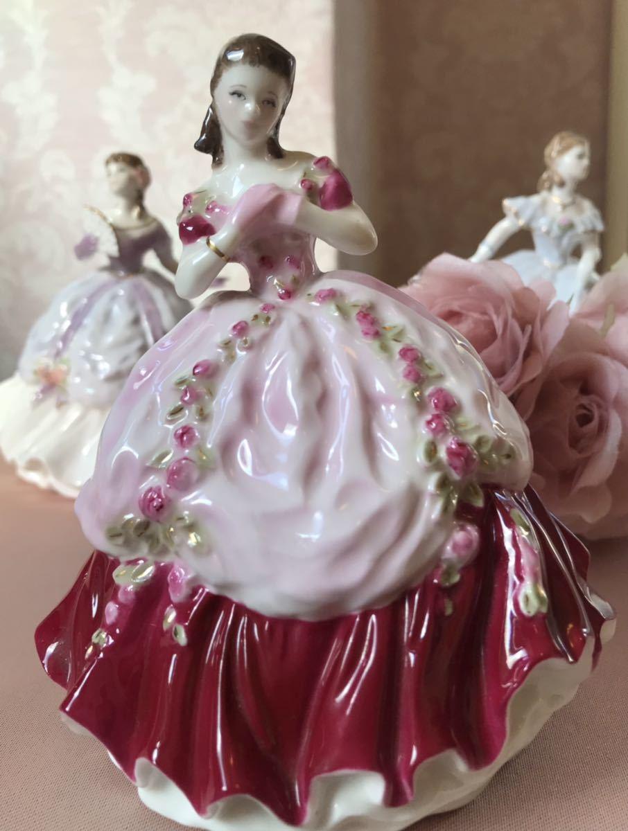 〈送料込〉ロイヤルウースター 高さ12cm ミニ レディ フィギュリン Royal Worcester フィギュア ドレス 陶器人形 貴婦人 レッド 置物 人形_画像1