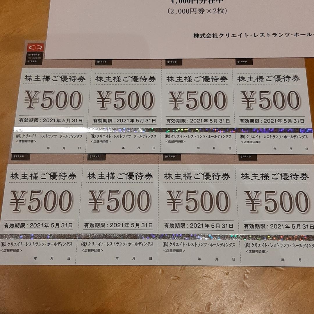 ☆ クリエイト・レストランツ・ホールディングス 株主優待券 8,000円分 ☆_画像1