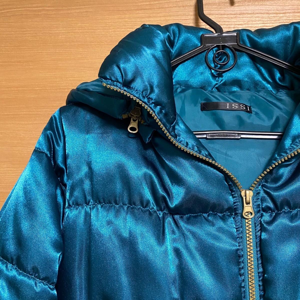 ダウンジャケット アウター ジャンパー ジャンバー レディース M ダウンコート 青 水色 エメラルドグリーン ショート丈