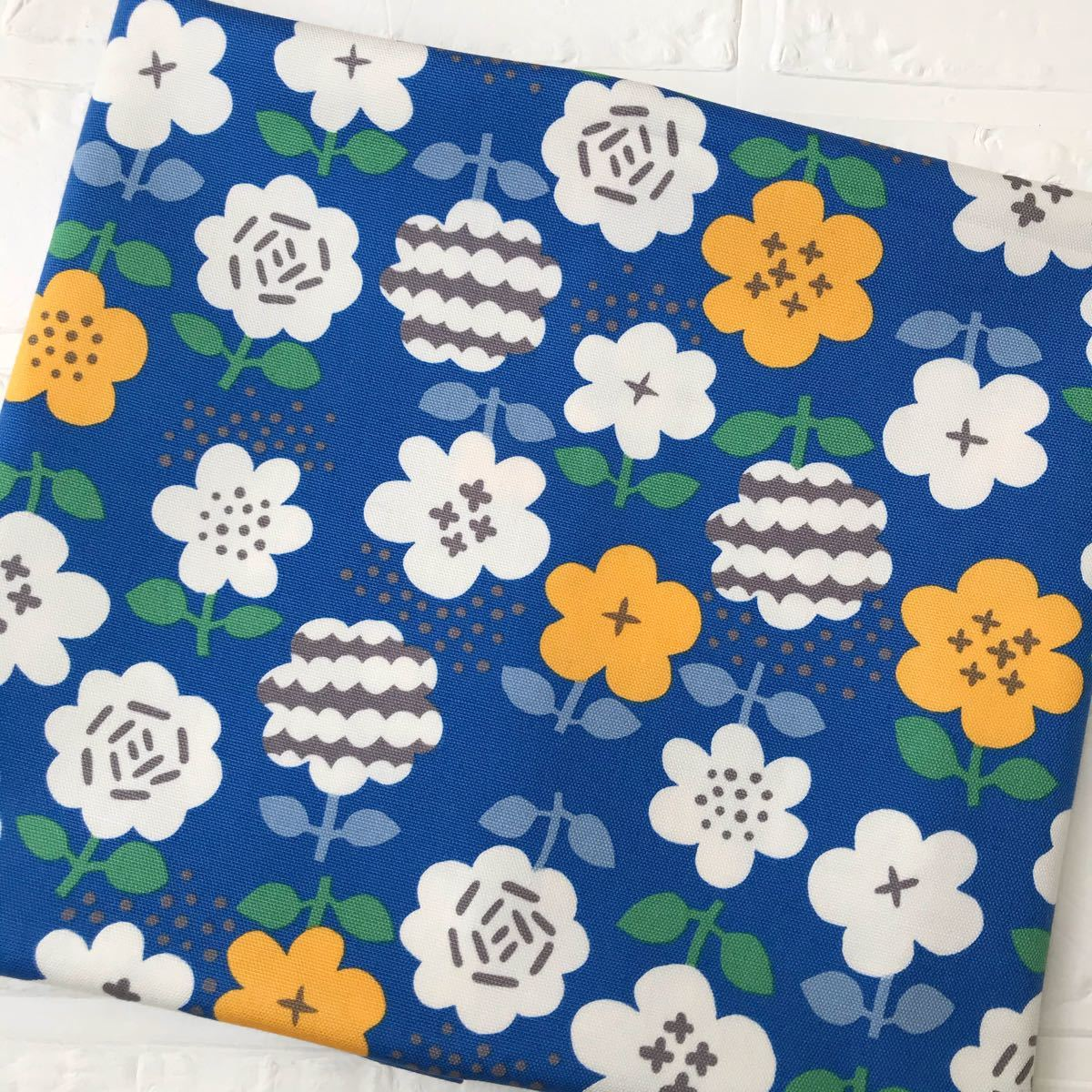 北欧風 お花柄 オックス生地 ブルー