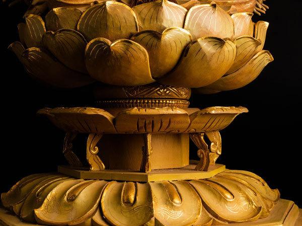 【流】仏教美術 木彫彩色千手観音像 高89cm CV916 ◎☆_画像3