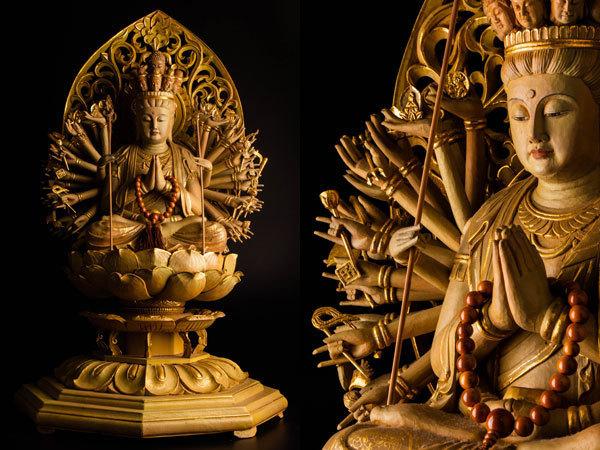 【流】仏教美術 木彫彩色千手観音像 高89cm CV916 ◎☆_画像1