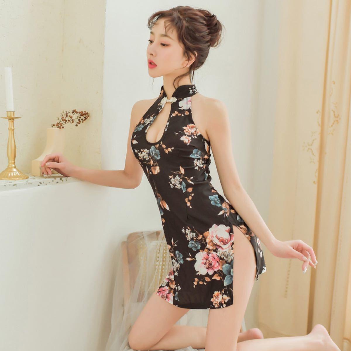 チャイナドレス セクシー コスプレ 胸あき 同柄同素材のTバック付き ランジェリー ベビードール パーティードレス  美脚 花柄