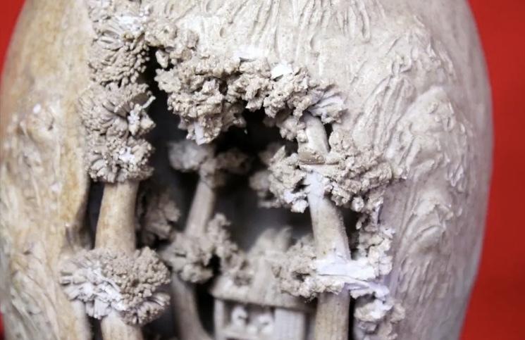 岩窟松彫刻細工壺 二六焼 高さ26cm 佐々木二六焼 水月焼 楽山焼_画像2