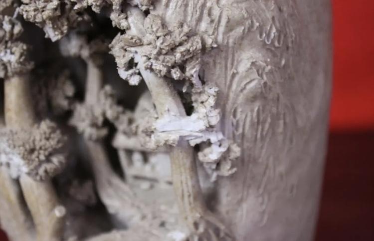 岩窟松彫刻細工壺 二六焼 高さ26cm 佐々木二六焼 水月焼 楽山焼_画像3