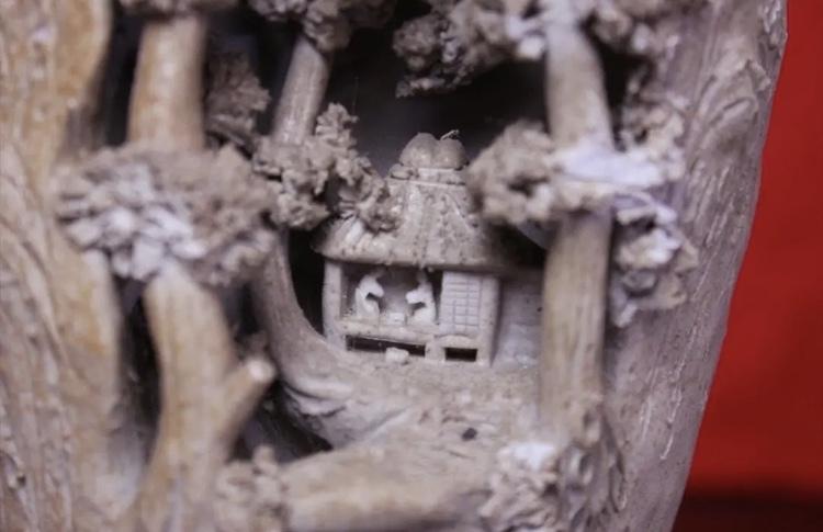 岩窟松彫刻細工壺 二六焼 高さ26cm 佐々木二六焼 水月焼 楽山焼_画像5