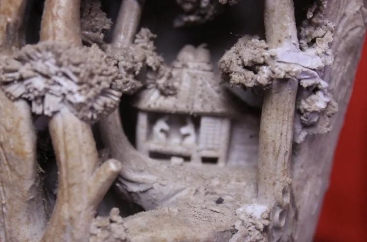 岩窟松彫刻細工壺 二六焼 高さ26cm 佐々木二六焼 水月焼 楽山焼_画像4