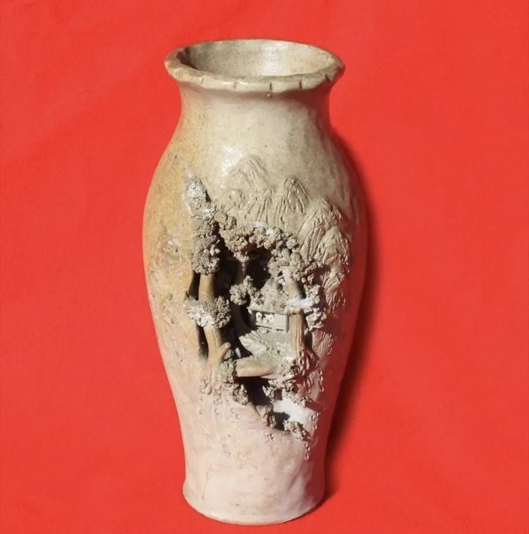 岩窟松彫刻細工壺 二六焼 高さ26cm 佐々木二六焼 水月焼 楽山焼_画像7