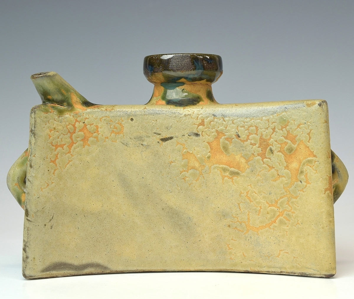 【趣楽】 人間国宝 金城次郎作 魚文抱瓶 酒器 本物保証 V1351_画像4