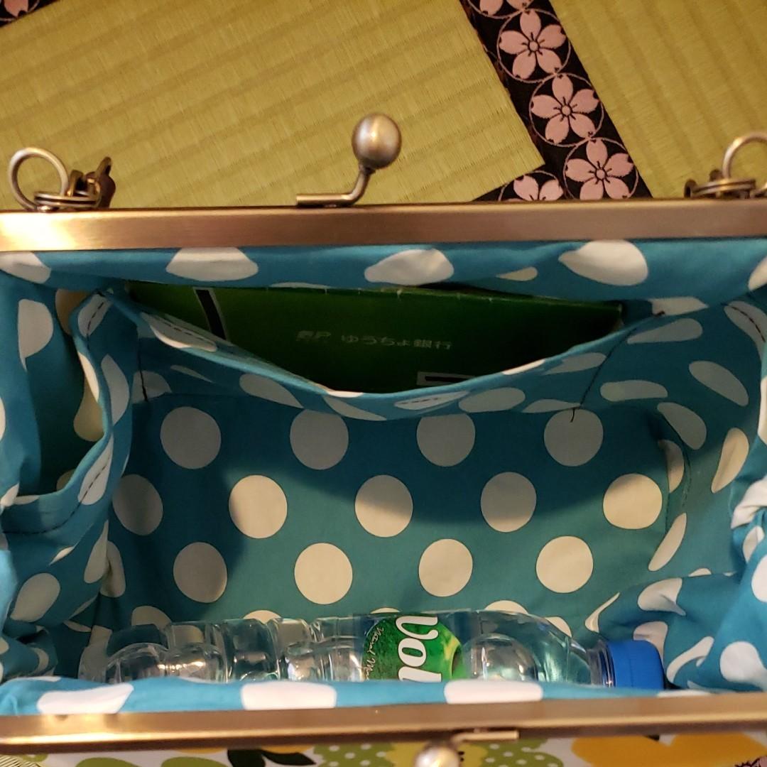 2点セット フラワー 黄緑 和柄 麻の葉 紫 がま口 3way ショルダー バッグ ハンドメイド 長財布 入ります