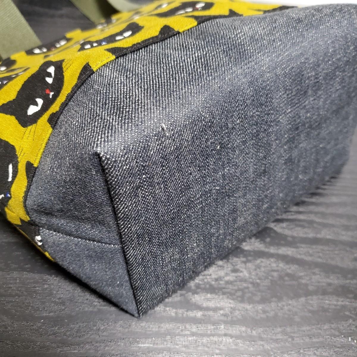ミニトートバッグ『黒猫 カラシ色×デニム』
