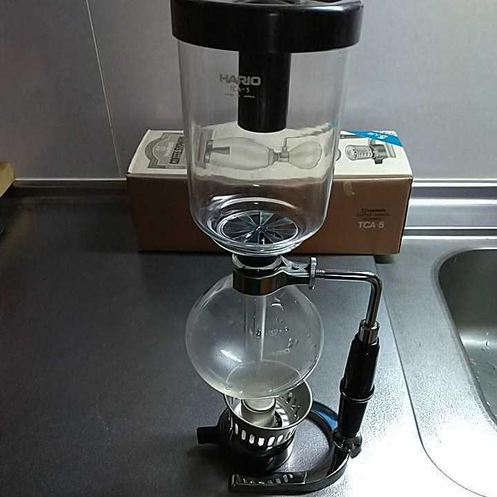ハリオコーヒーサイホン[テクニカ]、電動コーヒーミルセット、HARIO COFFEE SYPHON、TCA-5、五人用、布フィルター付き、中古品