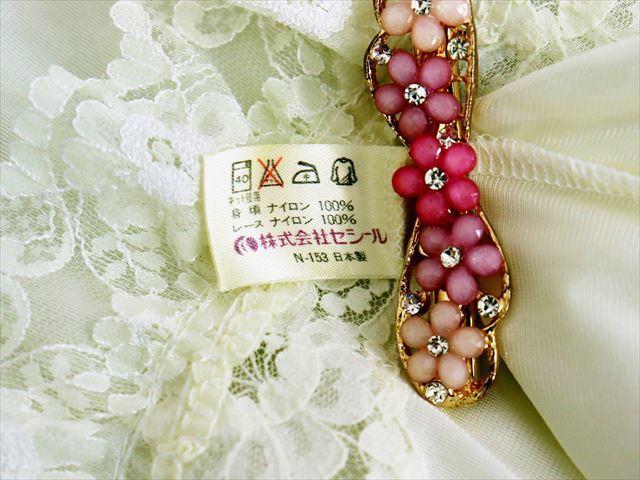 CE3-78☆セシール/日本製♪ドレスのような美しさ♪ウエストゴム入り*ストレッチスリップ*90※送料はゆうパケットなら250円♪_画像5
