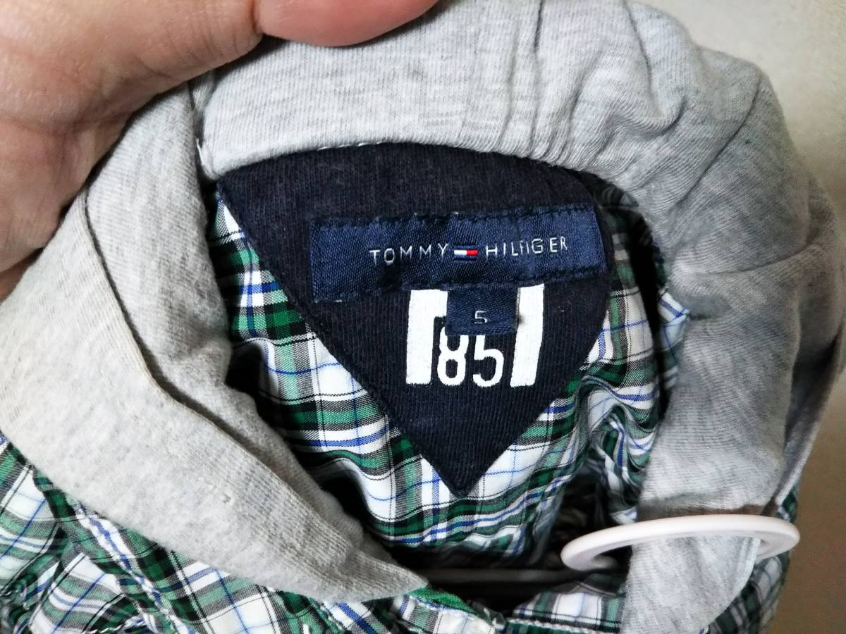 ☆TOMMY HILFIGER(トミーヒルフィガー) 子供用長袖チェックシャツ 5号(約110サイズ) 緑/白☆_画像2