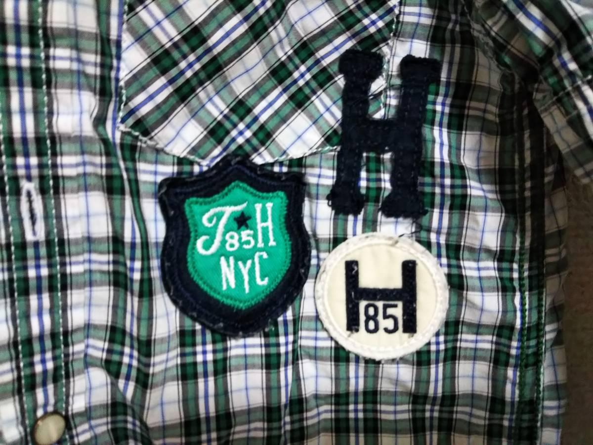 ☆TOMMY HILFIGER(トミーヒルフィガー) 子供用長袖チェックシャツ 5号(約110サイズ) 緑/白☆_画像3