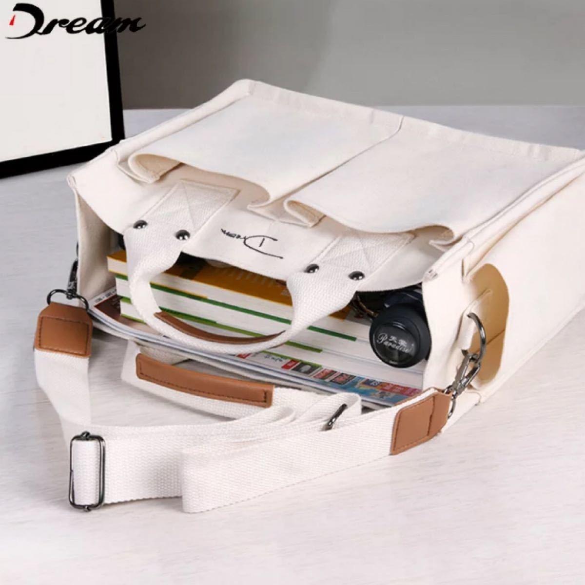 トートバッグ ハンド ショルダーバッグ 2way キャンバス 自立 帆布