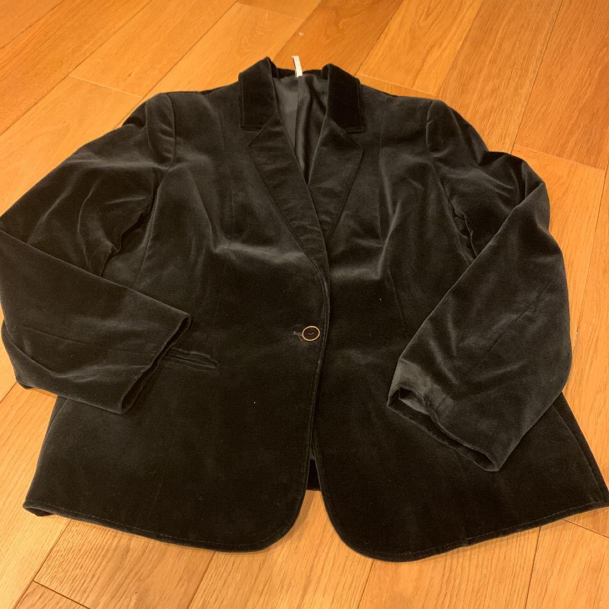 テーラードジャケット ベロア  ブラック 黒 レディース