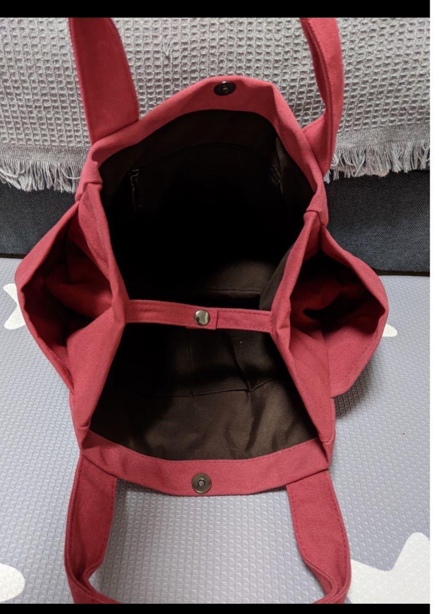 トートバッグ エコバッグ サブバッグ  大容量 バッグ キャンバス 赤 ローズ