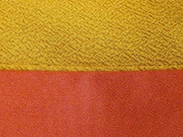 卒業式 入学式に 洗える 二尺袖きもの 色無地 着物 袴 身丈162 裄65 カラシ色 091_画像3