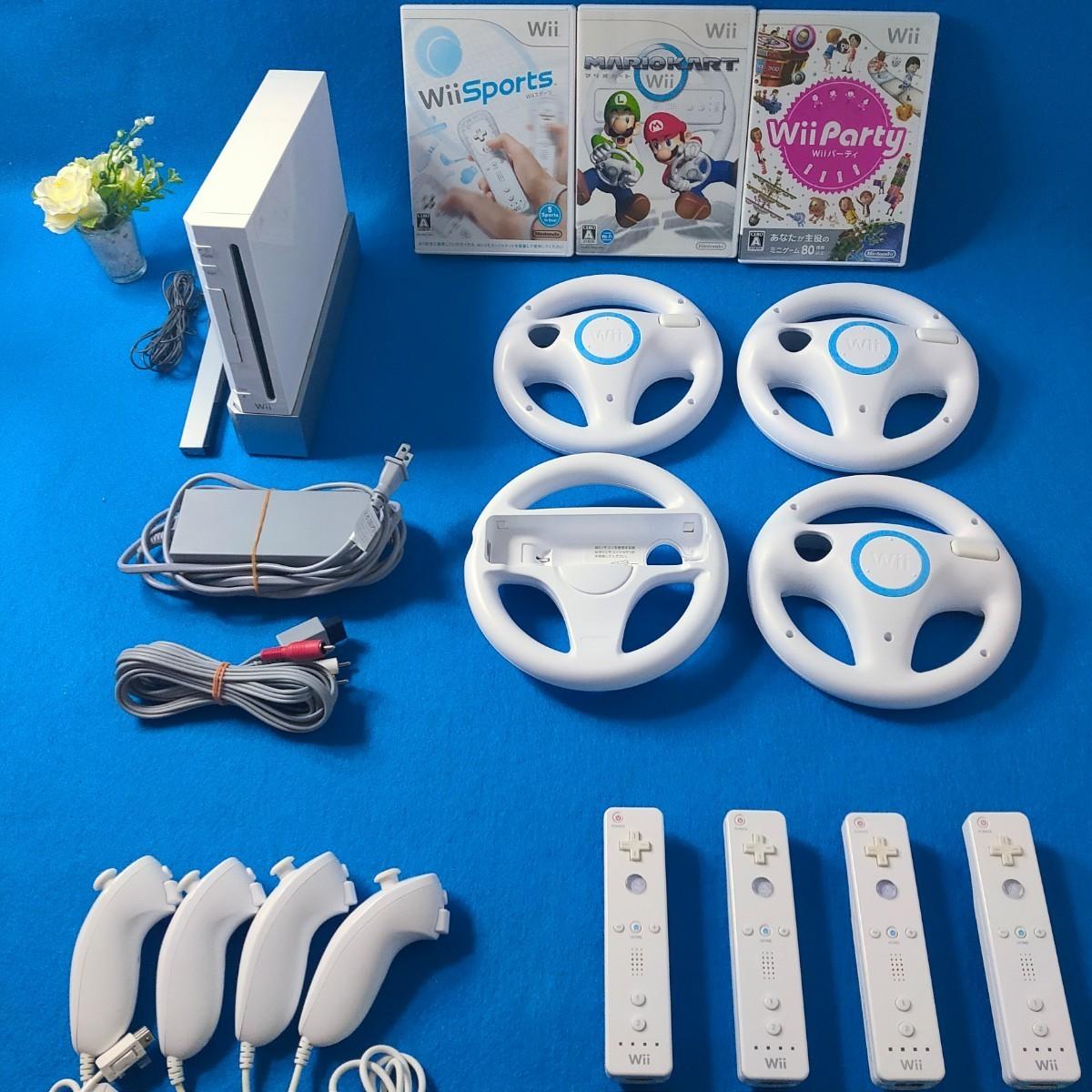 マリオカート 本体一式 ウィーパーティ Wiiスポーツ ハンドル4個