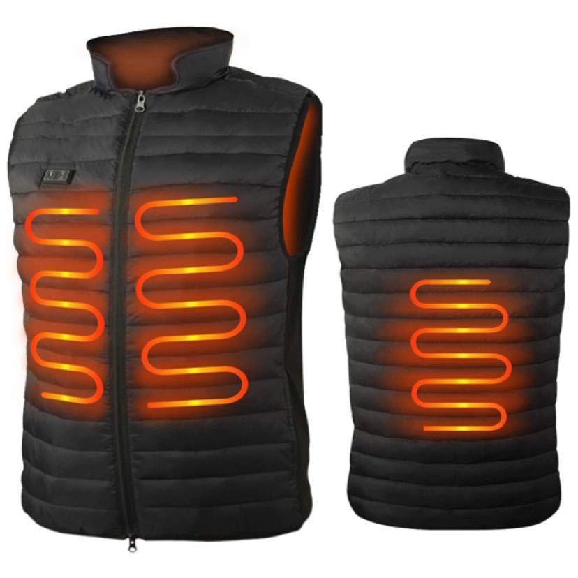 電熱ベスト Loowoko 加熱ベスト USB充電式 4つヒーター 水洗い可能 電熱ジャケット 保温 防寒 超軽量 臭くない 3段階温度調整 スキー_画像1