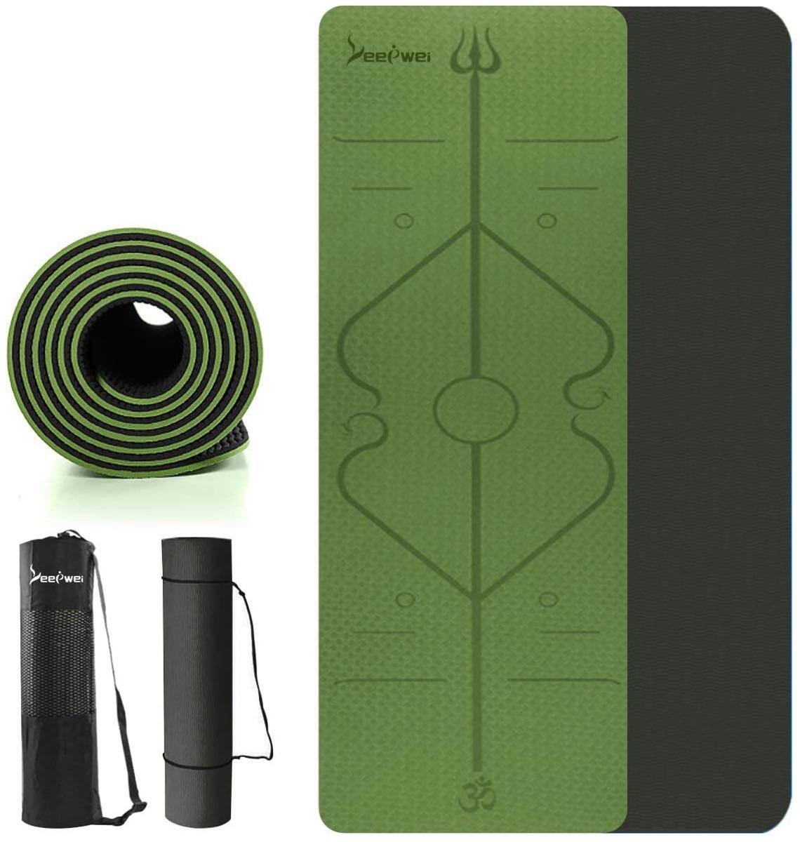 ヨガマットトレーニングマット ガイドライン付き 6mm エクササイズマット