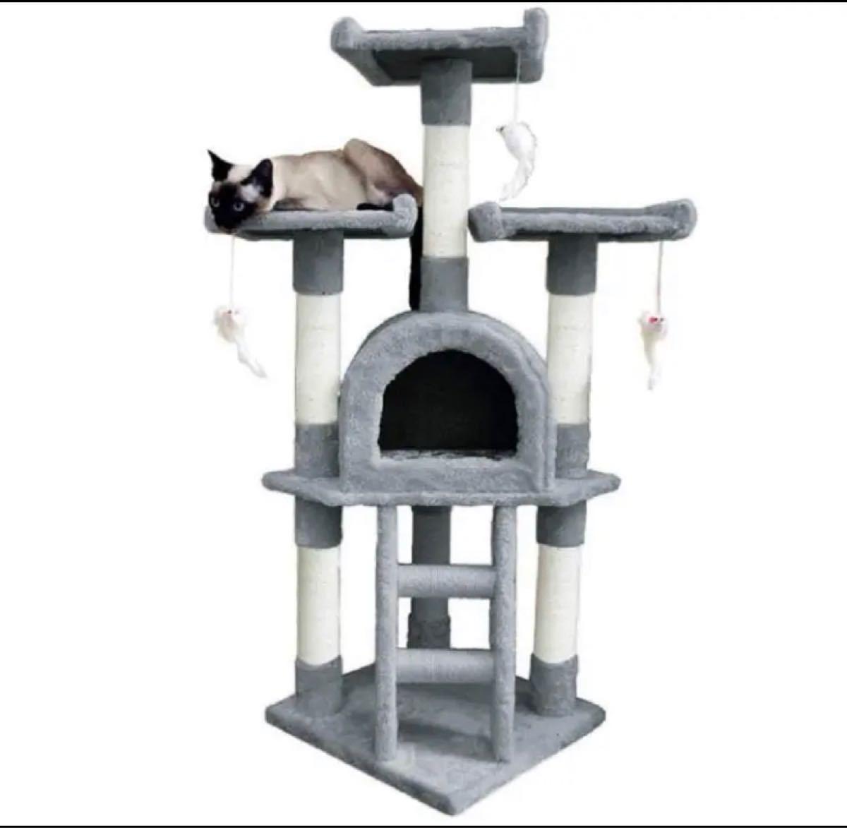 キャットタワー 猫タワー 広い見晴らし台 天然サイザル麻紐 高さ115cm