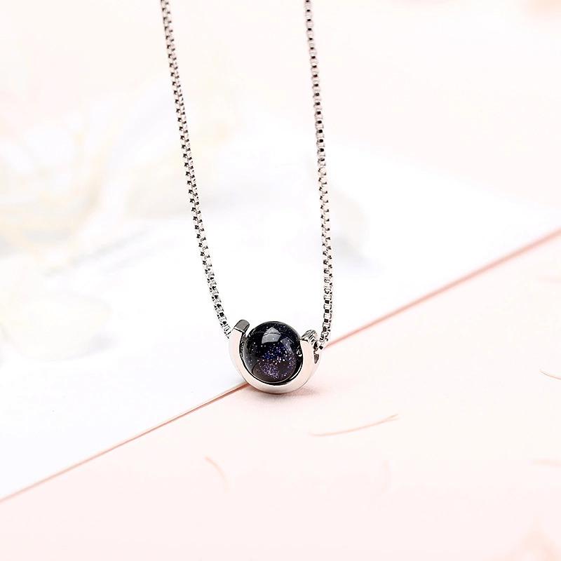 夏のファッション黒の石のペンダントネックレス 925 スターリングシルバーネックレス女性ジュエリーのためのチェーンチョーカー 2020 kolye_画像1