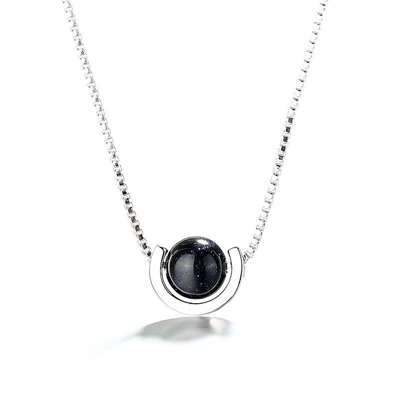 夏のファッション黒の石のペンダントネックレス 925 スターリングシルバーネックレス女性ジュエリーのためのチェーンチョーカー 2020 kolye_画像3