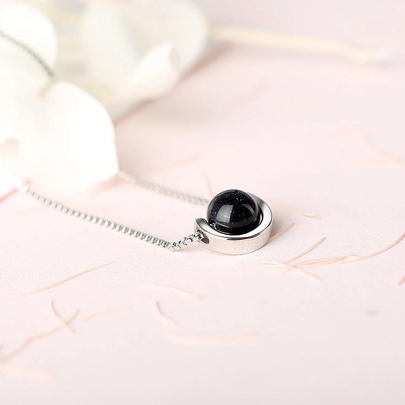 夏のファッション黒の石のペンダントネックレス 925 スターリングシルバーネックレス女性ジュエリーのためのチェーンチョーカー 2020 kolye_画像5