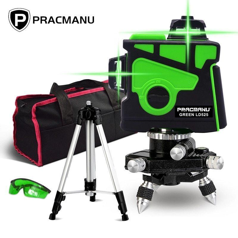 Pracmanu 12ライン3Dグリーンレーザーレベル水平および垂直クロスライン自動セルフレベリング_画像1