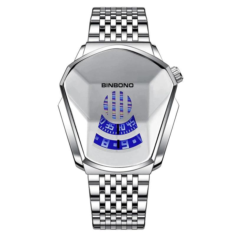 ファッションクール機関車メンズ腕時計トップブランドの高級クォーツゴールド腕時計男性防水幾何学的形状レロジオmasculino_画像2
