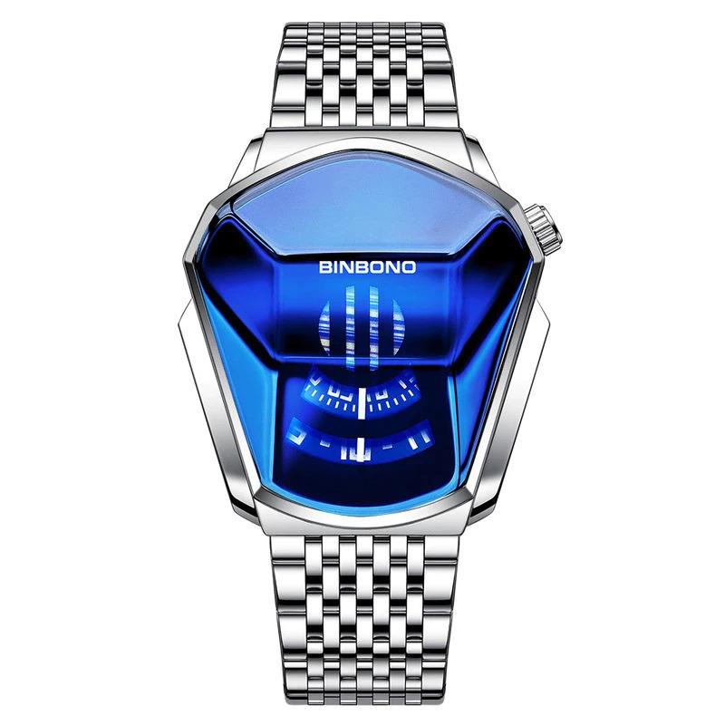 ファッションクール機関車メンズ腕時計トップブランドの高級クォーツゴールド腕時計男性防水幾何学的形状レロジオmasculino_画像3