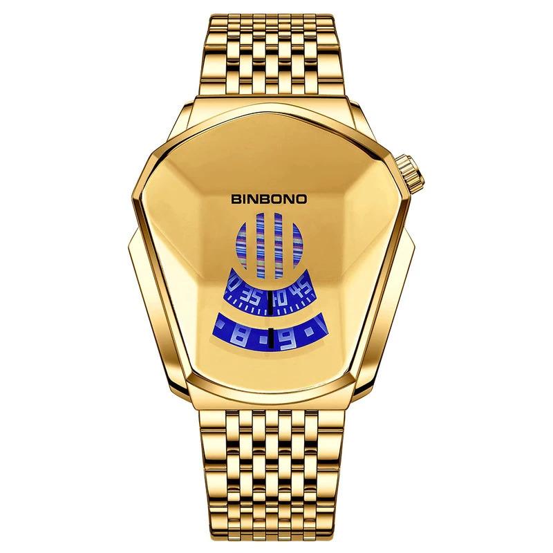 ファッションクール機関車メンズ腕時計トップブランドの高級クォーツゴールド腕時計男性防水幾何学的形状レロジオmasculino_画像4